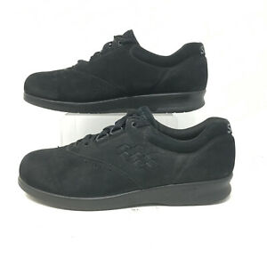 SAS Free Time Tripad Comfort Walking Shoes Lace Up Suede Black Womens 7