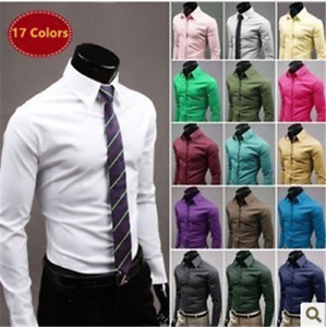 New Luxury Shirts Mens Casual Formal Slim Fit Shirt Top M-5XL Size 17 colors UK