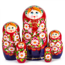 Nesting Dolls Russian Doll Matryoshka w/ Floral Art Hand Painted Russia 5 pcs 7""