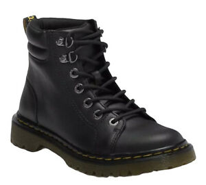 Dr. Martens Black Faora Mid Top Leather Padded Lace Up Combat Ankle Boot Size 9
