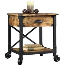 Side Table With Wheels For Small Spaces End With Drawer Rustic Antiqued Look
