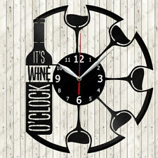 Wine Vinyl Record Wall Clock Decor Handmade 5992