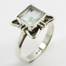 # 5.25 2.7 Grams Gift Jewelry 925 Pure Silver Aquamarine March Birthstone Ring