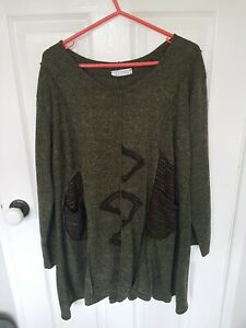 Women's Olive Green Top Made In Italy