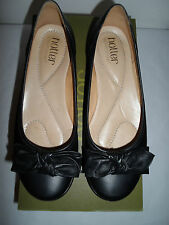 HOTTER JEWEL BLACK LEATHER FLAT SHOES SIZE 4.5 STD