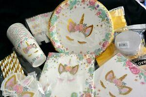 UNICORN Party Set 18 Plates, Cups, Straws, Napkins, Favor Boxes 1-Banner + more