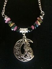 Crescent Moon,Wolf Charm In Antique Silver , Water Melon  Tourmaline Necklace