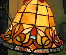 Vintage Tiffany Style Leaded Stained Glass Lamp Light Shade Art Deco Retro