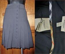 New BURBERRY London Black Wool Nova Check Trim Pleated SKIRT UK10 USA 8 M