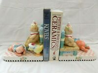 ME Ink 2000 Mary Engelbreit 2 Ceramic Bookends Children's Toys Excellent w2s8