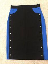 KENZO cotton Mini Skirt Colorblock Black Blue IT 34, Xs