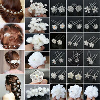 Lot 20/40Pcs Wedding Bridal Pearl Rose Flower Hair Pins Crystal Rhinestone Clips