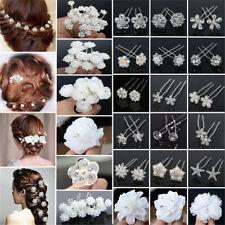 Lot 20/40Pcs Wedding Bridal Pearl Rose Flower Hair Pins Crystal Rhinestone Clips