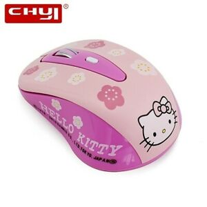 Wireless HELLO KITTY Pink Gaming Computer Mouse Mini Gift 1600DPI Cute PC Laptop