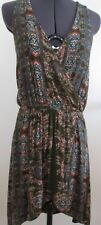 """~NWT~ GYPSY05 Women's """"Henne"""" Olive Colored Printed Knit Halter Mini Dress ~sz S"""
