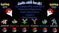 1 compte PTC avec les 6 régionaux de la G5  pokemon Go ( vague 2 )