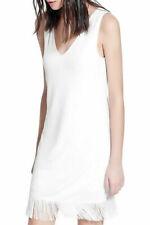 Mango Blanco Escote en V sin mangas del vestido dobladillo De Flecos Talla M UK 10