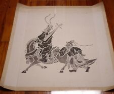 """Vintage Chinese Asian NOBLE MUSICIAN Horse Black & White Woodblock Cut Print 28"""""""