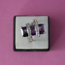 Beautiful 10 KT White Gold Filled Ring With Purple Amethyst And Topaz Gem Size O
