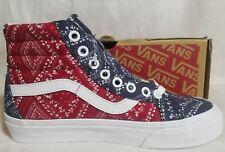 Vans New Sk8 Hi Reissue Ditsy Bandana Red Blue Chili Pepper Shoe Women Size 5.5
