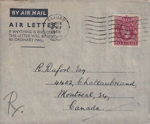 GREAT BRITAIN 1948 GEORGE VI AIR LETTER TO CANADA !! A23
