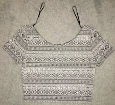 H&M Divided Crop Top Gray Striped Women's Size Medium Great Condition