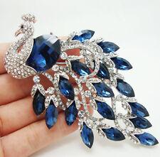 Vintage Style Luxurious Peacock Bird Blue Austria Crystal silver tone Brooch Pin