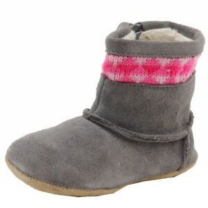 Robeez Mini Shoez Infant Girl's Knitted Kelly Charcoal Fashion Suede Boots Shoes