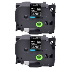 2pk Laminated White On Black Label Tape For Brother P Touch Pt D600 24mm Tze 355