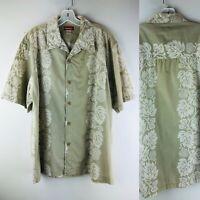 Union Bay Mens Shirt Hawaiian Aloha VINTAGE Large Cotton 90s Palm Bread Fruit
