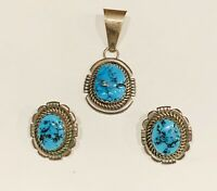 Signed Sterling Native American Turquoise Nugget Earring Pendant Set