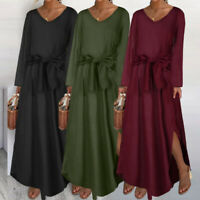 Women Casual Long Sleeve Kaftan Abaya Belt Tie Plain Baggy Plus Size Maxi Dress