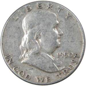 1950 Franklin Half Dollar AG About Good 90% Silver 50c US Coin Collectible