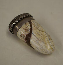 Pendant Conch Shell Coral Etched Repoussé Silver Brass Pendant
