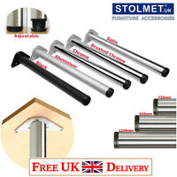 4x Chrome LEGS 710mm Adjustable Breakfast Bar/Worktop/Table/Kitchen Round ø60mm