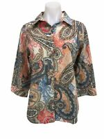 Chicos 0 Blouse Shirt Button Up 3/4 sleeve No-Iron Paisley Size Small Womens Top