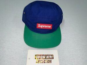 [PREOWNED] SUPREME RUBBER PATCH 2 TONE CAMP CAP BOX LOGO HAT 5 6 PANEL BLUE