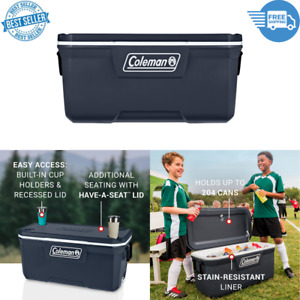 120 Qt Hard Ice Chest Cooler Box Heavy Duty Beach Camping Refrigerate Blue Night