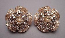 Miriam Haskell Faux Seed Pearl & Rhinestone Encrusted Flower Clip Earrings