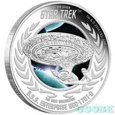 """Star Trek"" Tuvalu  U.S.S. Enterprise NCC-1701-D 2015 1oz Silver Proof Coin"