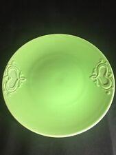 "Vintage Green Porcelain Plate Germany BZS Stamped 265 9"" Scroll Design"