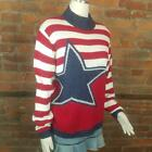 Vintage Women's Pullover Sweater Patriotic Stars & Stripes Red White Blue Size S