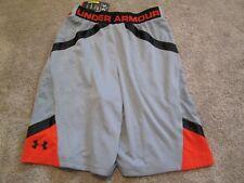 NEW Mens UNDER ARMOUR BASKETBALL Shorts Gray/Black/Orange MD  FREE SHIPPING!