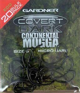 Gardner Covert Dark Mugga Continental Barbed Hooks *All Sizes 20 Hooks* NEW Carp