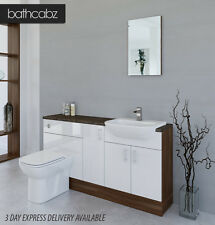 WHITE / AMERICAN WALNUT BATHROOM FITTED FURNITURE 1600MM