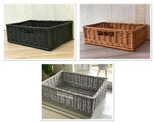 Willow Under Bed Storage / Wicker Basket For Bedroom / Organiser Cupboard Basket