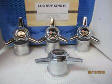 4 CHROME SPINNERS FOR WESTERN  WHEELS  3.25 HOLE DIAMETER B F EMB TALL BASE