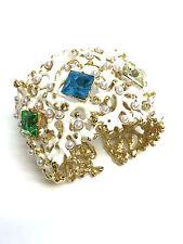 KENNETH J. LANE KJL Ivory-Enamel Pearl-Studded Coral Branch Cuff Bracelet