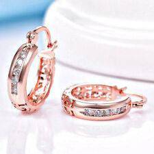 "US Seller. New 18k Dainty Rose Gold Filled - 3/4""- CZ Hoop Earrings - Gift Boxed"