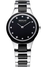 Bering Womens 32327-742 Ceramic Black Dial Silver Stainless Steel Band SS Watch
